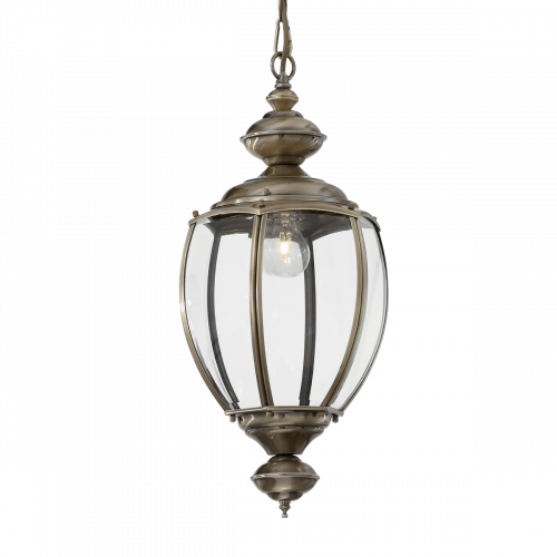 Ideal Lux 005911 Norma Single Light Indoor Hanging Lantern Pendant Antique Brass Finish