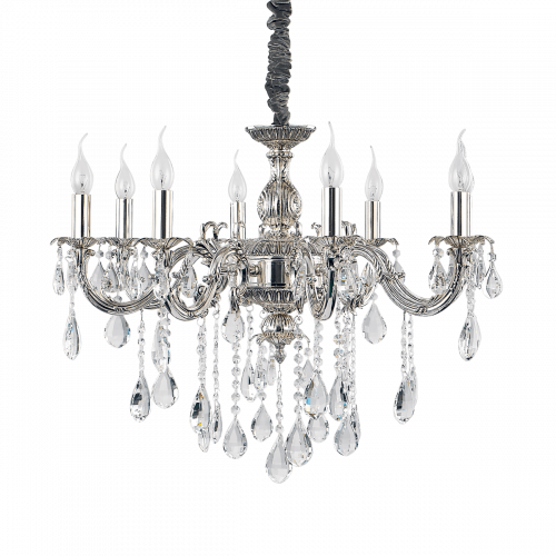 Ideal Lux 014395 Impero Crystal 8 Light Chandelier Silver Frame