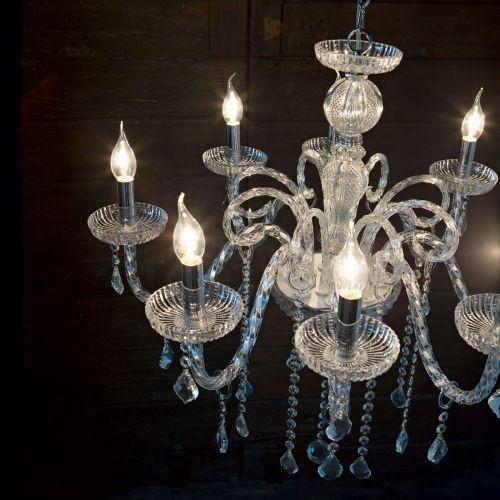 Ideal Lux 027838 Giudecca Crystal 8 Light Chandelier Clear Glass Frame