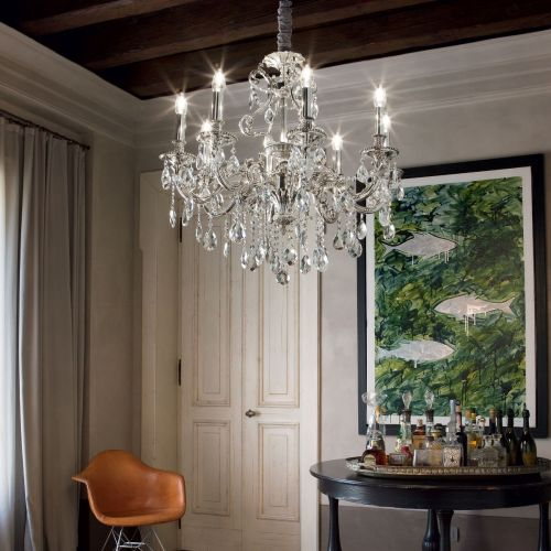 Ideal Lux 044934 Gioconda Traditional 8 Arm Chandelier Silver Frame Pendant