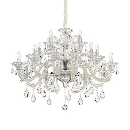 Ideal Lux Colossal 15 Arm Two Tier Ivory White Glass Chandelier 081564