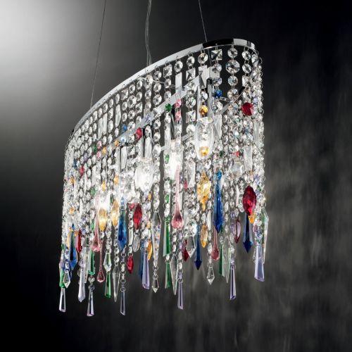 Ideal Lux Rain Colour 105277 Crystal Ceiling Pendant 5 Light Chrome