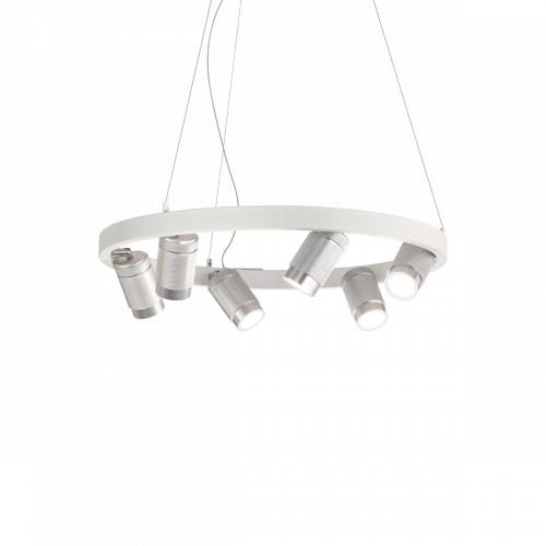 Ideal Lux Zoom Suspended Spotlight Ceiling Pendant 6 Light White IDE/235936