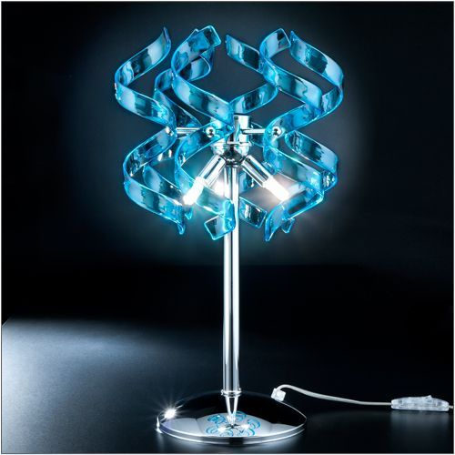 Metal Lux Astro Blue Glass Table Lamp 206.123.08 Polished Chrome