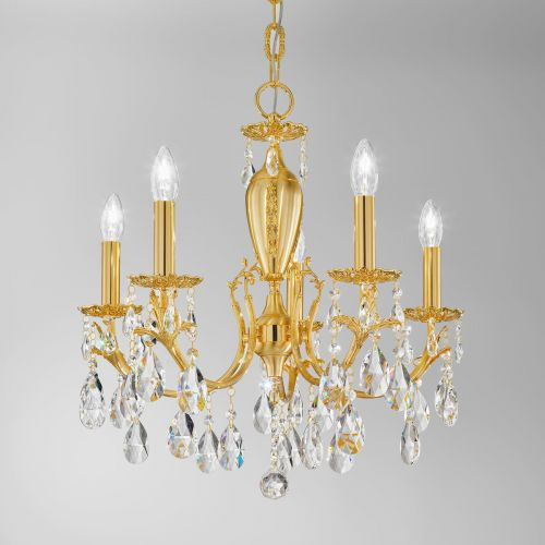 Kolarz 3003.85.3.KoT Victoria II Crystal 5 Light Chandelier Gold Chandelier