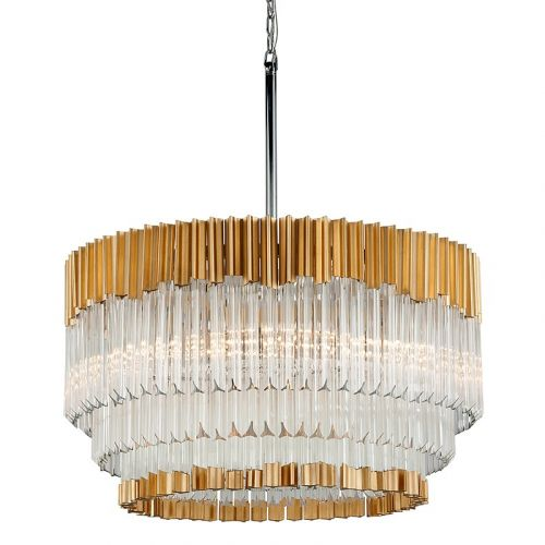 Corbett 8 Light Pendant Gold Leaf With Polished Stainless Charisma 220-48-CE