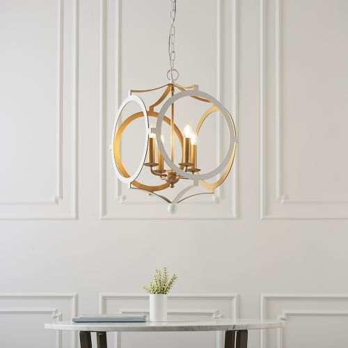 Ceiling Pendant Fitting 4 Light Matt White & Gold Paint Alanya REG/505066