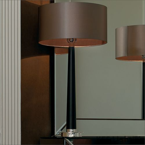 Endon Chrome And Walnut Wood Table Lamp With Mink Shade Corvina