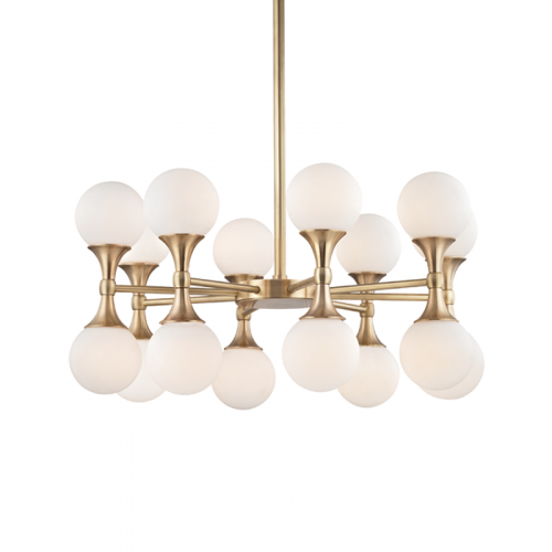 Multi-Arm Ceiling Pendant 16 Light Aged Brass Hudson Valley Astoria 3316-AGB-CE
