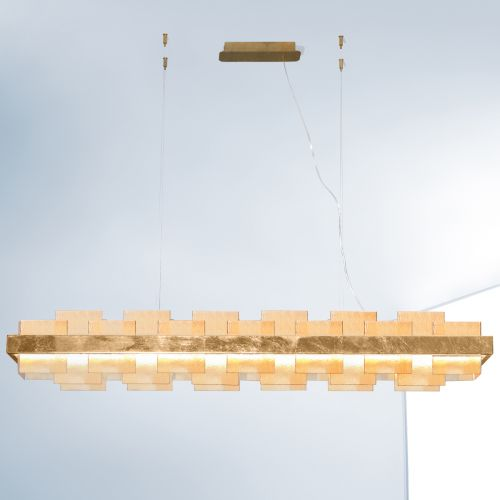 Kolarz Rettangolo 1 Light LED Linear Bar Ceiling Pendant 6040.80130/A Gold Leaf Amber Glass