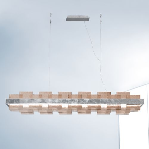 Kolarz Rettangolo 1 Light LED Linear Bar Ceiling Pendant 6040.80150/Fm Silver Leaf Fumé Glass