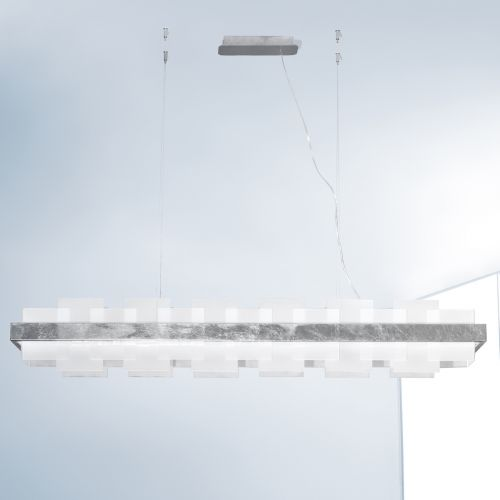 Kolarz Rettangolo 1 Light LED Linear Bar Ceiling Pendant 6040.80150/W Silver Leaf White Glass