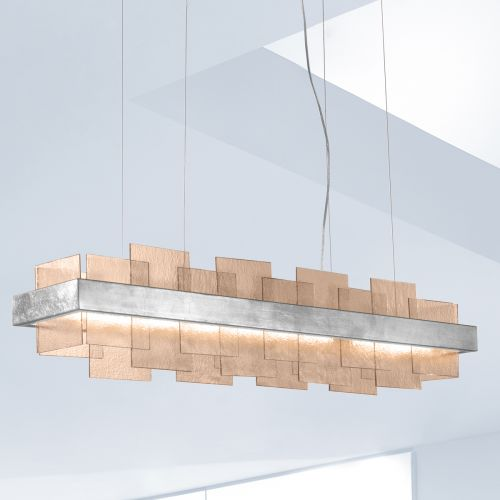 Kolarz Rettangolo 1 Light LED Linear Bar Ceiling Pendant 6040.80151/Fm Silver Leaf Fumé Glass