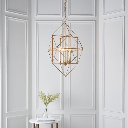 Large Ceiling Pendant Angular Frame Gold And Silver Leaf Paris REG/505001