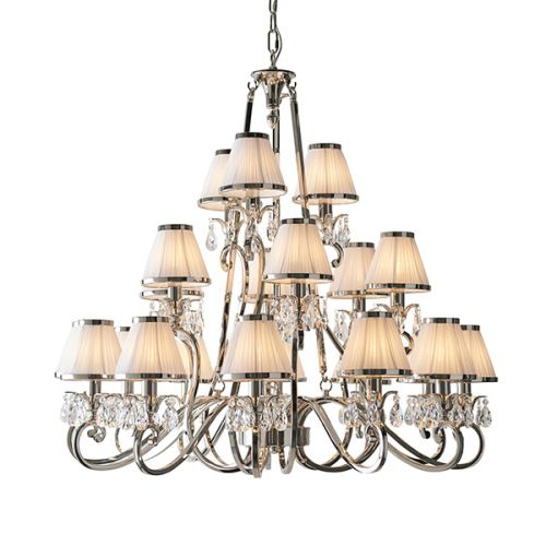 Interiors 1900 Oksana 21-Light Nickel Chandelier White 63516