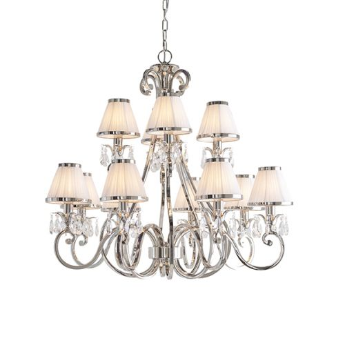 Interiors 1900 63517 Oksana 12Lt Nickel Chandelier White Shades