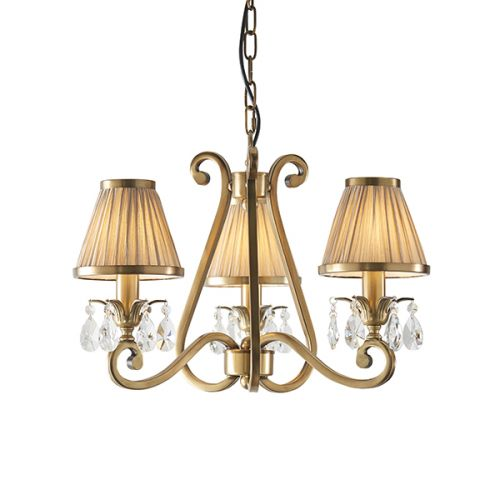 Interiors 1900 Oksana 3-Light Brass Chandelier Beige Shade 63520