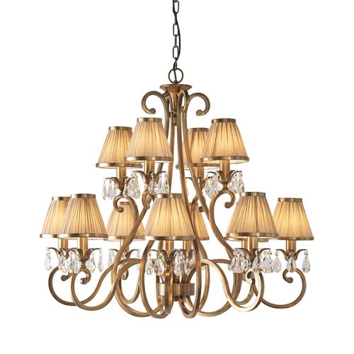 Interiors 1900 Oksana 63521 Brass 12 Arm 2 Tier Chandelier Beige Shade