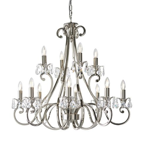 Interiors 1900 UL1P12N Oksana 12 Arm 2 Tier Nickel Crystal Chandelier