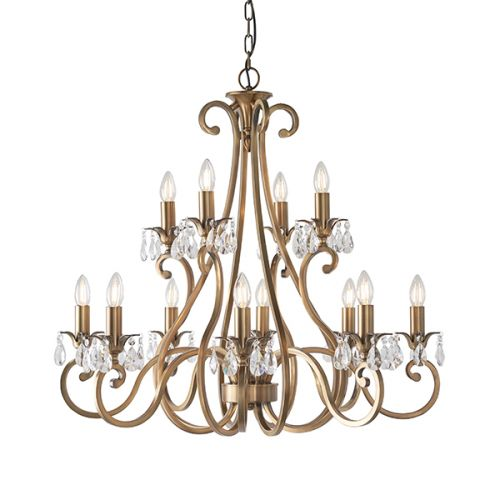 Interiors 1900 UL1P12B Oksana Brass 12 Arm 2 Tier Crystal Chandelier