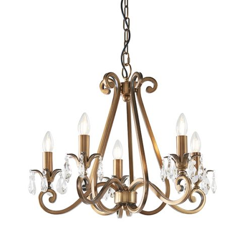 Interiors 1900 Oksana 5-Light Chandelier Brass UL1P5B
