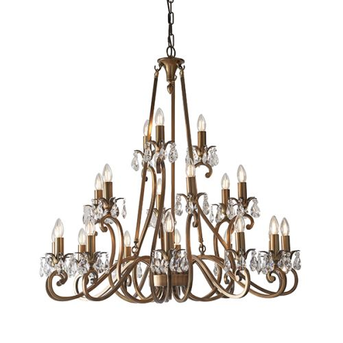 Interiors 1900 Oksana 21-Light Chandelier Brass UL1P21B