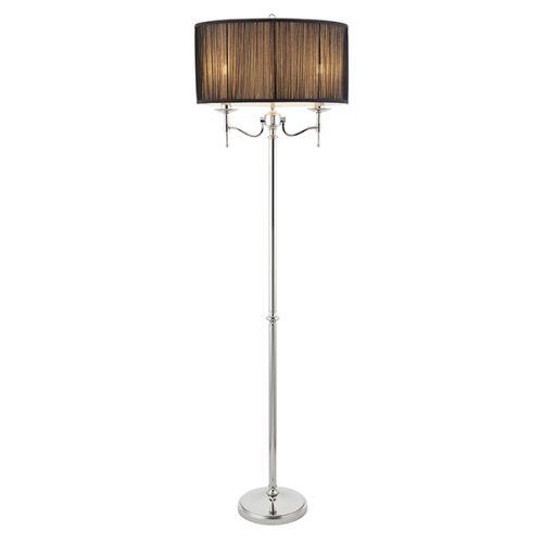 Interiors 1900 Stanford Floor Lamp Nickel Black Shade 63624