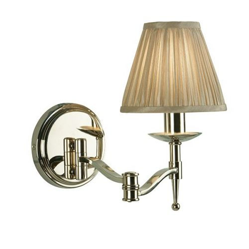 Interiors 1900 63658 Stanford 1Lt Nickel Swing Arm Wall Light with Beige Shade