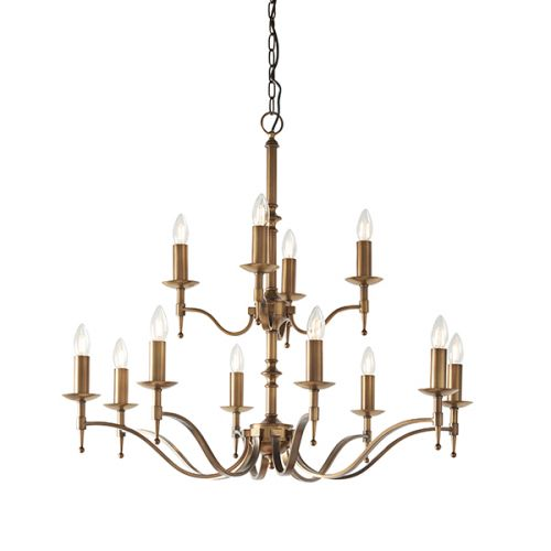 Interiors 1900 Stanford 12 Light Chandelier Brass CA1P12B