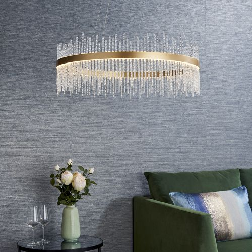 LED Ceiling Pendant Glass Rod Brushed Gold Fitting Riga REG/505015