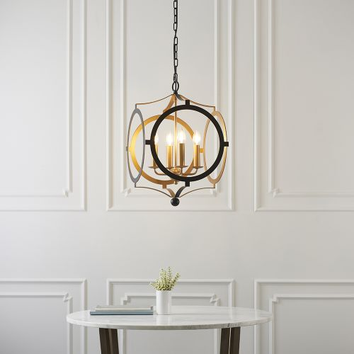 Ceiling Pendant Fitting 4 Light Matt Black & Gold Paint Alanya REG/505067