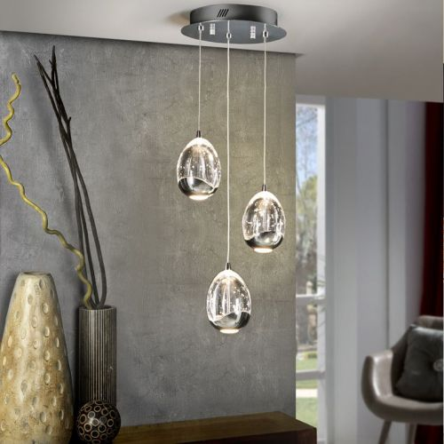 Schuller Rocio 783753 LED Ceiling Pendant 3 Light Chrome