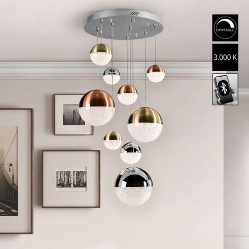 Schuller Sphere 793091B LED 9 Light Ceiling Cluster Pendant 1.5 Metre Drop Multicoloured Bluetooth Dimmable