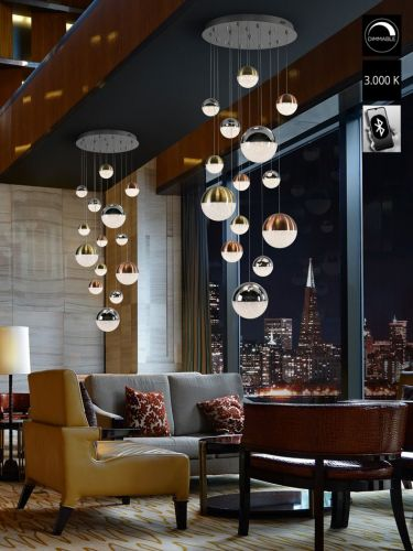 Schuller Sphere 793258B LED 14 Light Ceiling Cluster Pendant 3 Metre Drop Multicoloured Bluetooth Dimmable