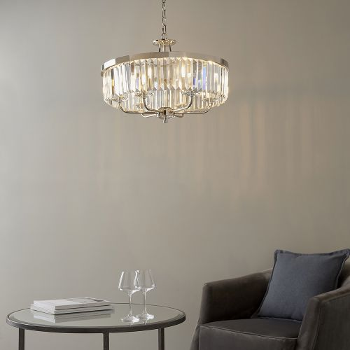 Ceiling Pendant 6 Light Cut Glass Bright Nickel Samara REG/505032