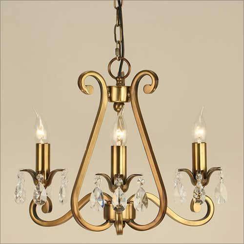 Interiors 1900 Oksana 3 Light Chandelier Brass UL1P3B