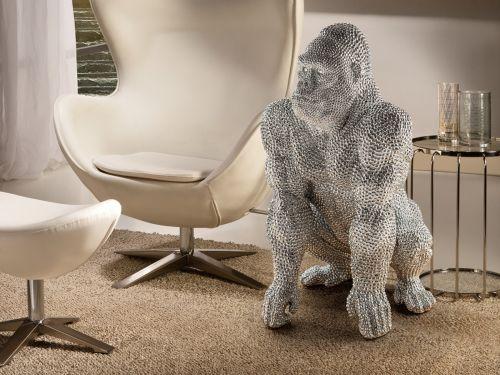 Gorilla Large Decorative Figure Silver