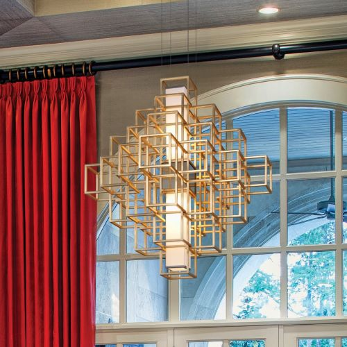 Large LED Ceiling Pendant Gold Leaf Corbett Metropolis 242-42-CE