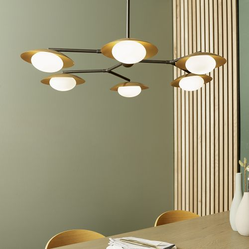 Multi-Arm Ceiling Pendant 6 Light Gold And Dark Bronze Halle REG/505075