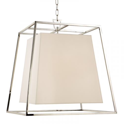 Large Ceiling Pendant 6 Light Polished Nickel Hudson Valley Kyle 6924-PN-WS-CE