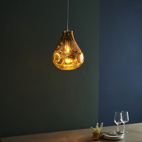 Glass Ceiling Pendant Light Fitting Metallic Gold Glass Valletta REG/505060