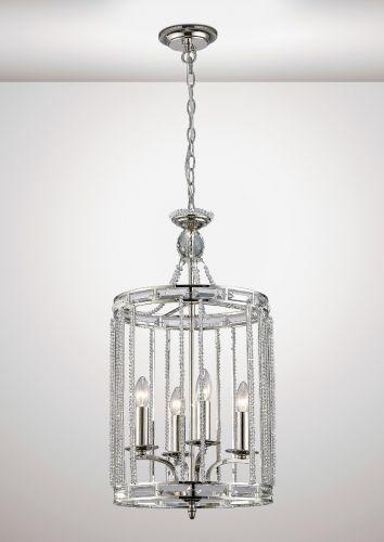 Diyas Adina Ceiling Pendant 4 Light E14 Polished Nickel/Crystal DIY/IL31666