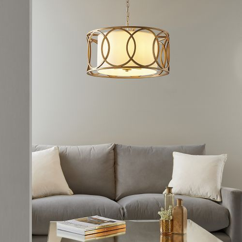 Circular Ceiling Pendant Fitting 4 Light Brushed Gold Parma REG/505065