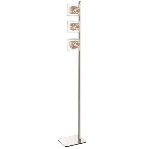 Floor Lamp 3 Light Copper and Polished Chrome Lekki Aldermoor LEK7069