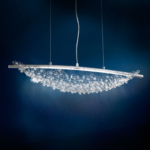 Swarovski Amaca 2 Light Pendant Fitting Stainless Steel Clear Crystals SHK200E-SS1S
