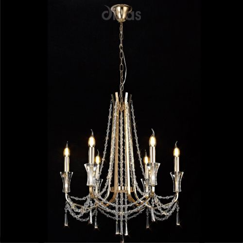 Diyas IL31753 Armand Crystal 6 Light Pendant French Gold Frame