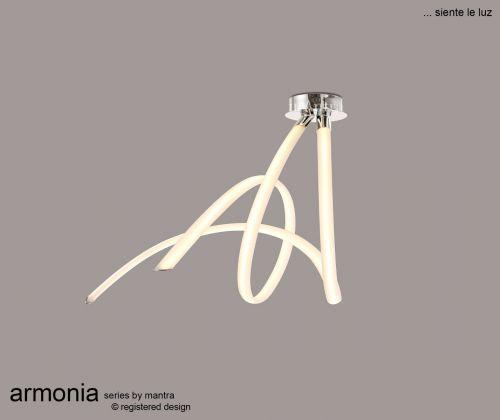 Mantra ArmoniaSemi Flush Ceiling Fitting 60W LED 3000K 4500lm White Chrome M6722