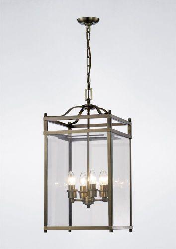 Diyas IL31113 Aston Pendant 4 Light Antique Brass/Glass