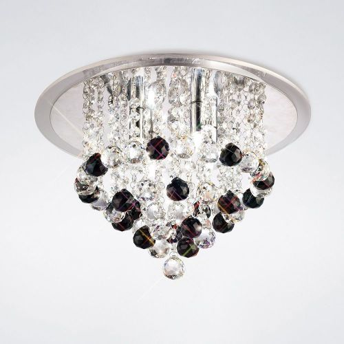 Diyas IL30008BL Atla Ceiling 4 Light Polished Chrome/Acrylic Trim/Crystal Supplied With 17 Additional Black Crystal Spheres