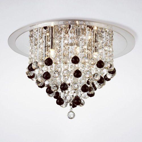 Diyas IL30009BL Atla Ceiling 6 Light Polished Chrome/Acrylic Trim/Crystal Supplied With 25 Additional Black Crystal Spheres
